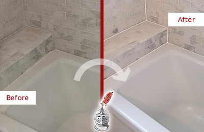 Before and After Picture of a Marble Grout Caulking on the Tub Joints