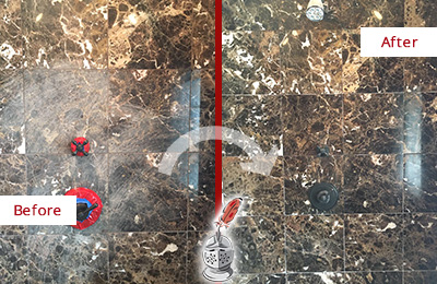 Before and After Picture of a Heavily Scratched Marble Wall Restored