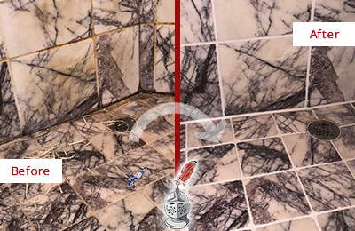 Before and After Picture of a Shower Grout Replacement