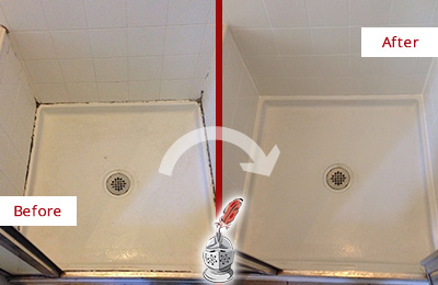 Before and After Picture of a Shower Caulking on the Wall Joints