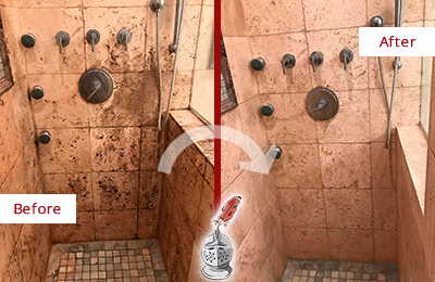 Picture of Moldy Travertine Shower Before and After Cleaning and Sealing Service to Remove Mold