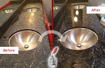 Picture of an Office Restroom's Marble Countertop Before and After Color Enhancement and Restoration