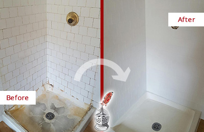 Before and After Picture of a White Shower Cleaned and Sealed to Look Like New