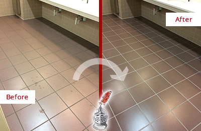 Before and After Picture of a Bridgeport Restrooms Tile and Grout Cleaned to Remove Embedded Dirt