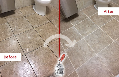 Before and After Picture of a Bridgeport Restroom Tile and Grout Cleaned to Remove Soil