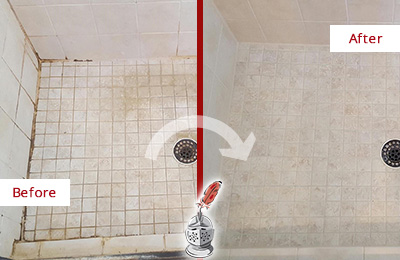 Before and After Picture of a Bethel Shower Caulked to Fix Cracks