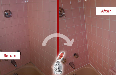 Before and After Picture of a Bethel Bathtub Caulked to Eliminate Mold