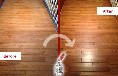 Before and After Picture of a Riverside Wood Sandless Refinishing Service on a Dull Hallway