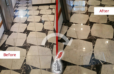 Before and After Picture of a Dull Shippan Point Marble Stone Floor Polished To Recover Its Luster