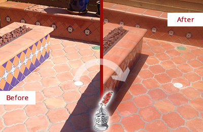Before and After Picture of a Dull Monroe Terracotta Patio Floor Sealed For UV Protection