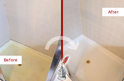 Before and After Picture of a Morris Shower Sealed to Remove and Protect Against Mold