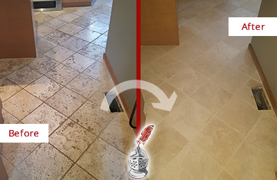 Before and After Picture of a Danbury Kitchen Marble Floor Cleaned to Remove Embedded Dirt