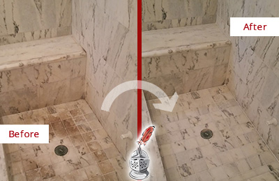 Before and After Picture of a Dirty Danbury Marble Shower Cleaned to Eliminate Dark Stains