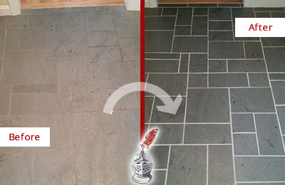 Before and After Picture of a Danbury Slate Floor Cleaned to Remove Deep-Seated Dirt