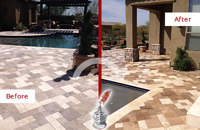 Before and After Picture of a Dull Danbury Travertine Pool Deck Cleaned to Recover Its Original Colors