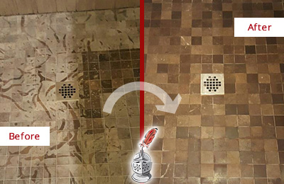 Before and After Picture of a Stained Danbury Marble Shower Floor Cleaned to Remove Etching
