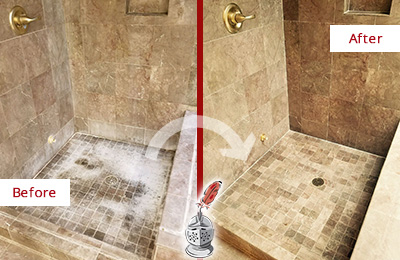 Before and After Picture of a Redding Travertine Shower Cleaned to Eliminate Water Spots