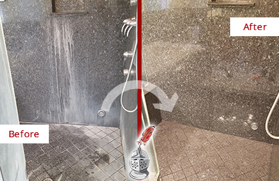 Before and After Picture of a Bethlehem Granite Shower Stone Sealed to Avoid Mineral Deposits