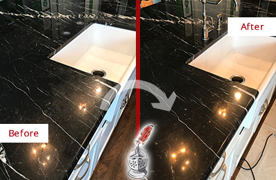 Before and After Picture of a Kent Marble Kitchen Countertop Stone Sealed to Avoid Water Damage