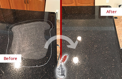 Before and After Picture of a Monroe Granite Kitchen Countertop Honed to Eliminate Scratch
