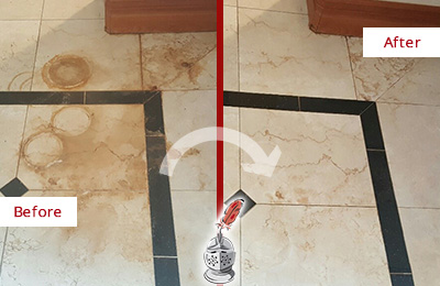 Before and After Picture of a Sherman Marble Floor Honed to Remove Rust Stains