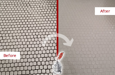 Before and After Picture of a Thomaston Mosaic Tile floor Grout Cleaned to Remove Dirt