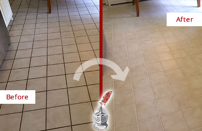 Before and After Picture of a Round Hill Kitchen Tile Floor with Recolored Grout