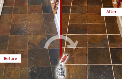 Before and After Picture of a Round Hill Slate Floor Recolored Grout