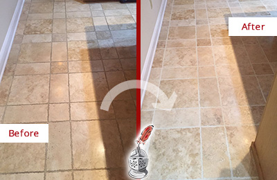 Before and After Picture of a Round Hill Travertine Kitchen Floor Recolored Grout