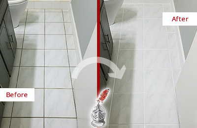Before and After Picture of a Norwalk White Ceramic Tile with Recolored Grout