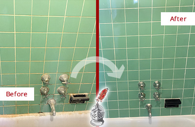 Before and After Picture of a Fairfield Bath Tub Grout Sealed to Avoid Water Damage