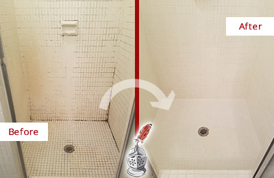 Before and After Picture of a Fairfield Bathroom Grout Sealed to Remove Mold