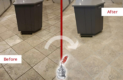Before and After Picture of a Bridgewater Kitchen Floor Grout Sealed to Remove Stains