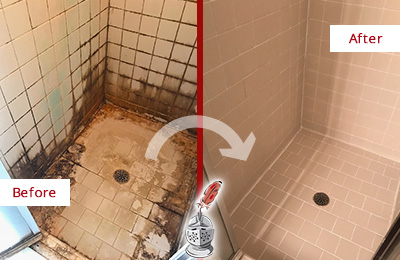 Before and After Picture of a Brookfield Ceramic Shower Cleaned to Remove Grime