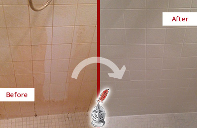 Before and After Picture of a Easton Porcelaine Shower Cleaned to Remove Soap Scum
